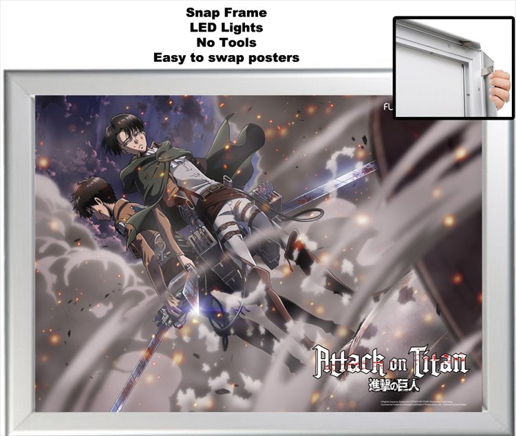 Attack on Titan - Erin & Levi Clear PVC Poster A2 & LED Light Snap Poster Frame (ToysLogic Exclusive)